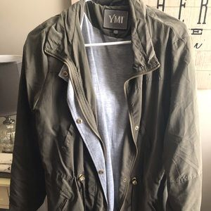 Olive Green Jacket with comfy gray lining
